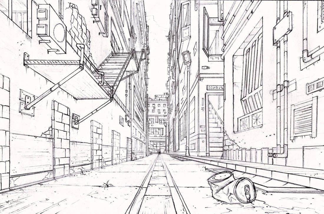 Alley By Longjh Perspective Art Perspective Drawing Architecture One Perspective Drawing