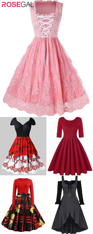 Rosegal Plus size vintage dresses ideas Christmas party dresses