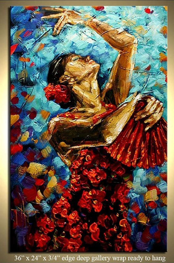 Divine Dance Paintings That Make You See The Movement In The Stillness is part of Dance paintings, Dancer painting, Hispanic art, Art, Flamenco, Flamenco dancers - 12 8Kshares Facebook71 Twitter1 Pinterest12 8K StumbleUpon0 TumblrDance is an art form that you cannot hate, you can either be indifferent or passionately in love with  This is because dance is a very personal art form where you express your inner artist using your body, your face, your limbs and your movements in a particular manner  In this article we are not just talking about dance, but about paintings that depict dance  In essence, this means that the artist loves dance and loves to paint  This means he or she would try to capture the fluidity of the dance movement in their