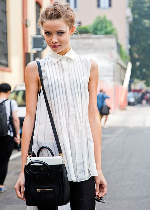 black and white outfit #street #urban #effortless #weekend #casual #chic #style #outfit #vacay #vacation #blackandwhite #fashion #blouse #crossbody #bags #Celine #hair #updo #simple #modern #minimalistic