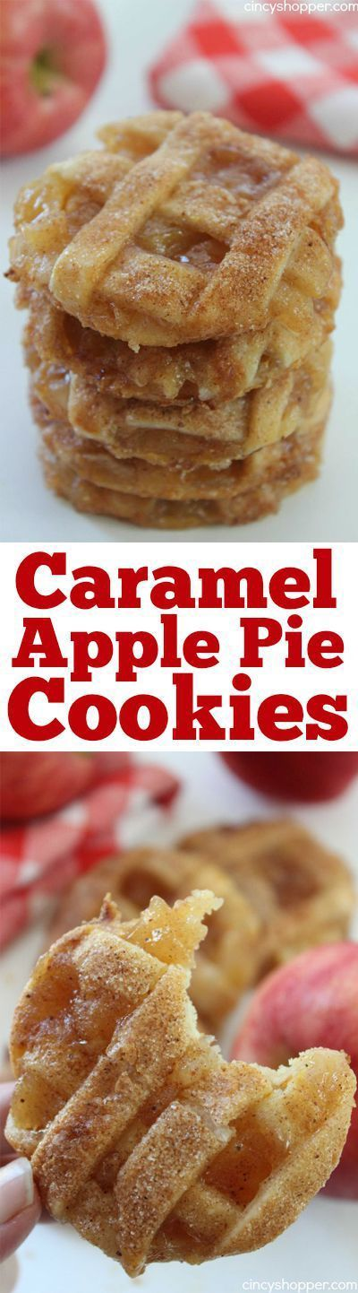 Caramel Apple Pie Cookies -Easy fall cookie. Pastry crust, warm gooey caramel and apples…