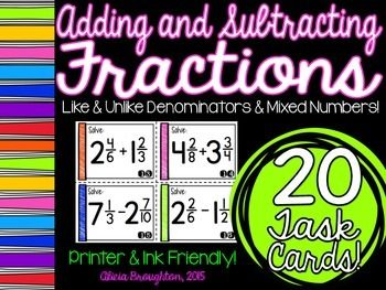 Adding & Subtracting Fractions Task Cards TPT $
