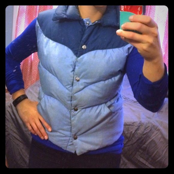 Goose down retro vest Light and dark blue vest. Goose down, snap buttons Jackets & Coats Vests
