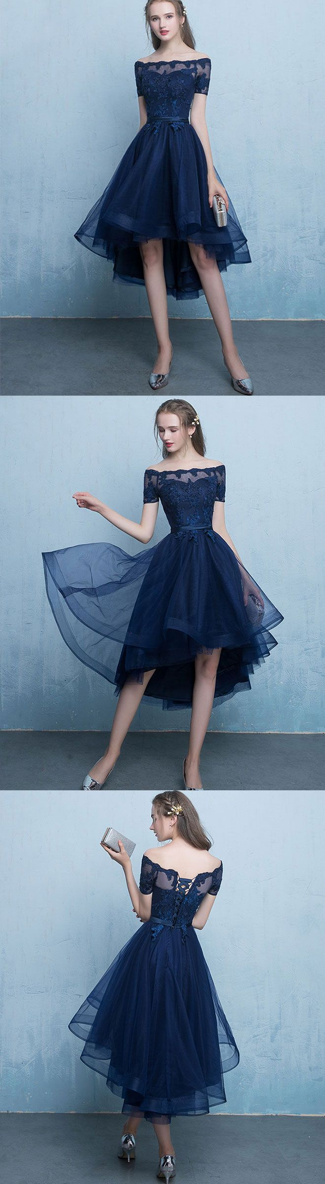 Dark blue lace tulle short prom dress, high low evening dress ...