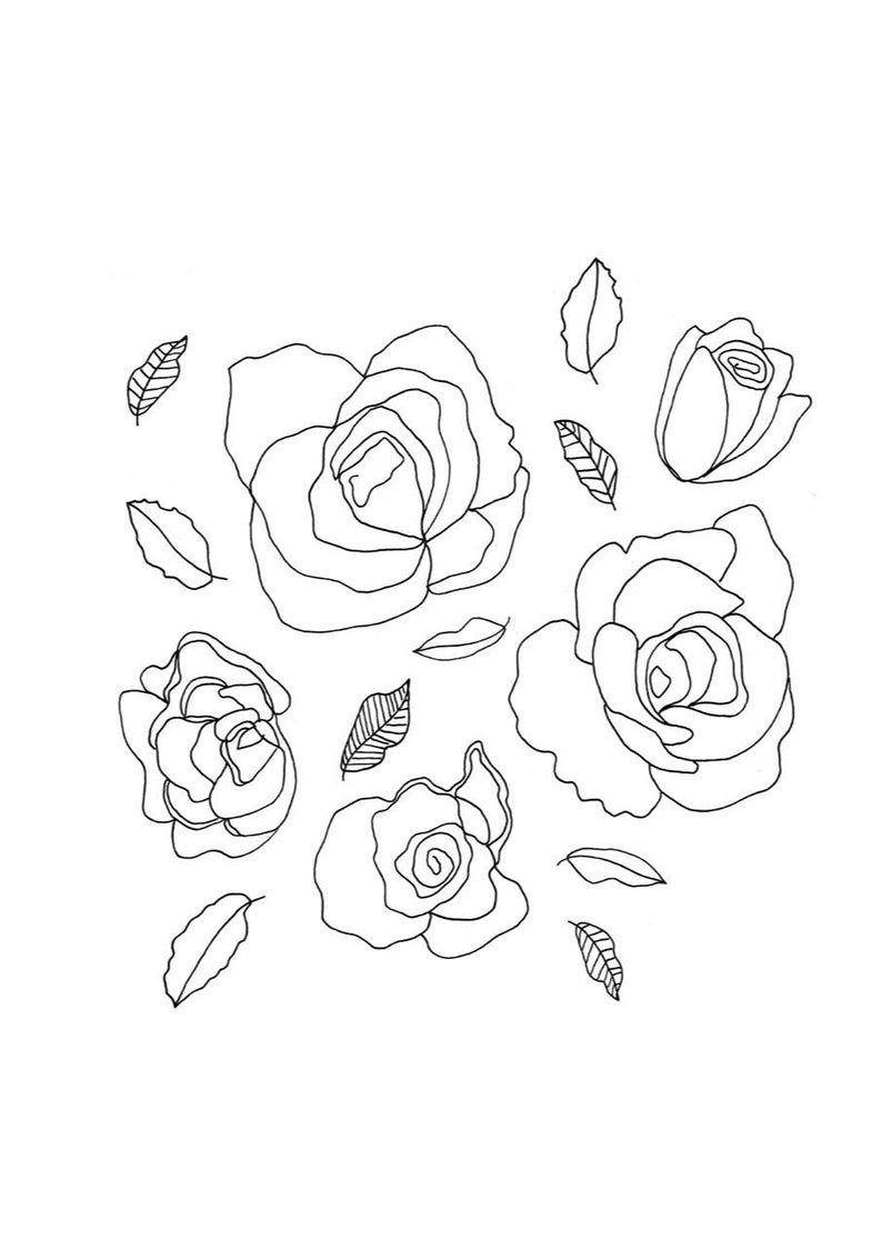 Floral Print Roses Art Print Line Drawing Flower Illustration Print Black And White Wall Art Minimalist Print Seasonal Decor Valentine Flower Line Drawings Rose Art Flower Drawing