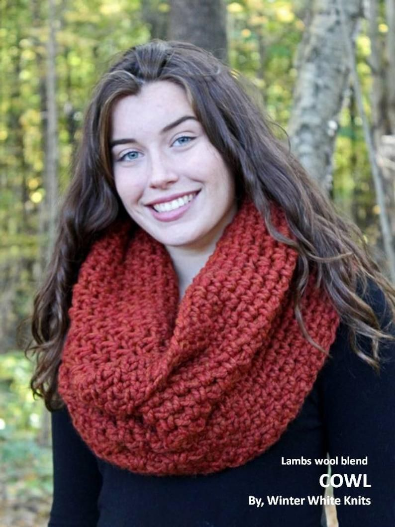 Photo of Winter scarf, Over-sized knit cowl, knit scarf, infinity scarf, knit neck-warmer, cowl hood, chunky knit cowl, knit snood, WOODLAND COWL