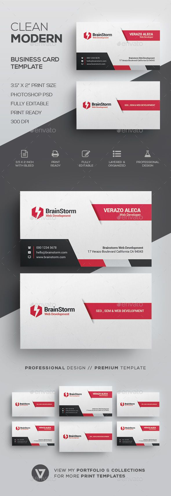 Clean Business Card Template | Pinterest | Corporate business, Card ...