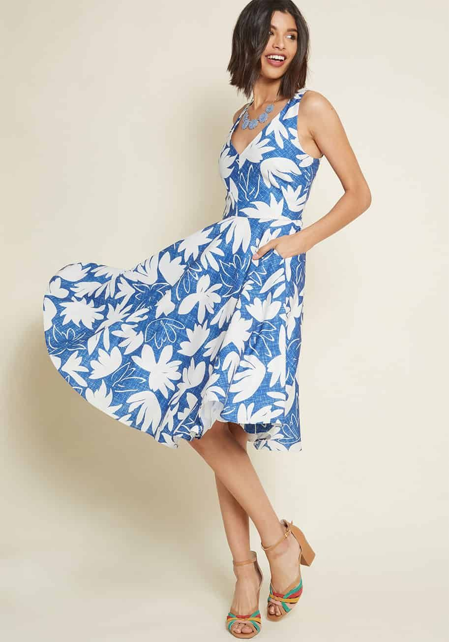 05709680d0a9 Cute casual floral dress with pockets to wear to a late summer outdoor  wedding  weddingguest  dresses  style  dress  ModCloth
