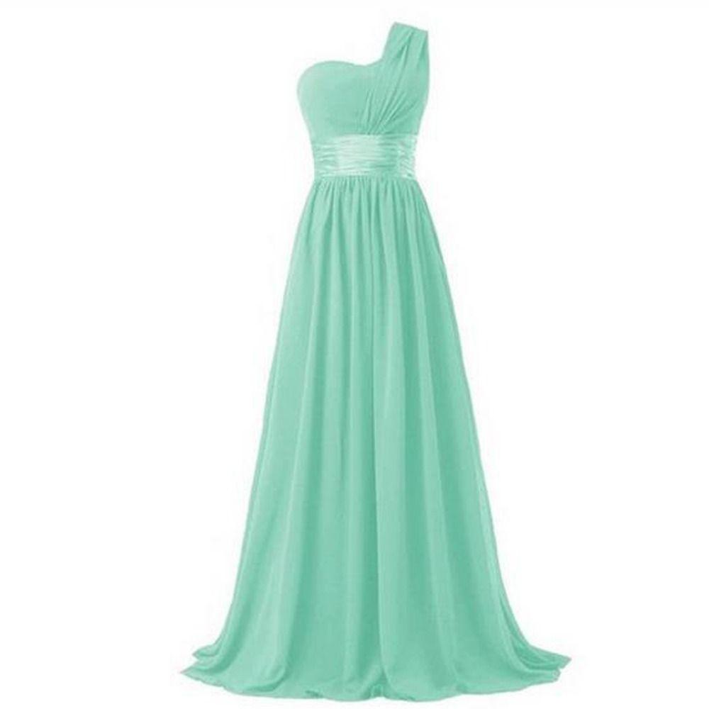 Elegant one shoulder a line chiffon long bridesmaid dress shops