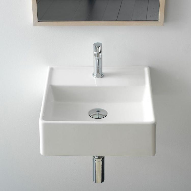 Small Square Ceramic Wall Mounted Or Vessel Sink In 2020 Small Bathroom Sinks Sink Square Bathroom Sink