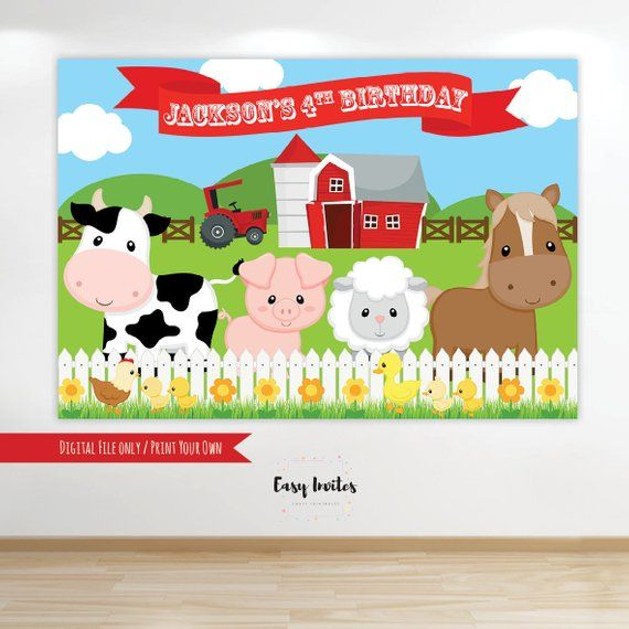 Birthday Banner Officeworks Barnyard Birthday, Farm Birthday, Farm Birthday Banner