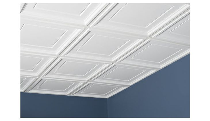Icon Coffer 2 X 2 White Box Of 12 Basement Ceiling Basement Ceiling Painted Ceiling Tiles Basement