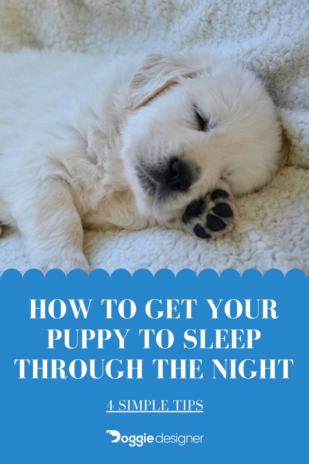 How To Get Your Puppy To Sleep Through The Night 4 Simple Tips Doggie Designer In 2021 Sleeping Through The Night Puppies Doggy