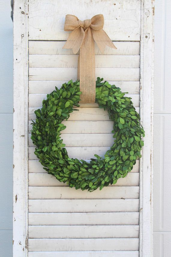 Preserved Boxwood Wreath Wall Decor Door Hanger Farmhouse