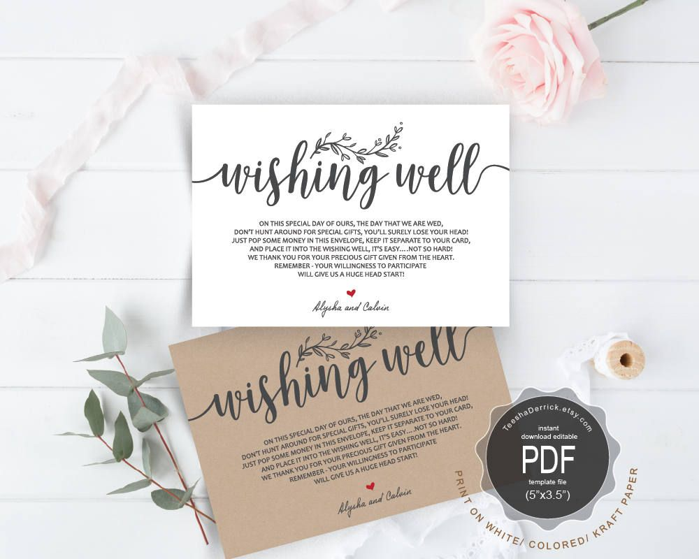 Wishing Well Pdf Card Template Instant Printable Editable Insert In Rustic Theme Ted418 3 By Teeshaderrick On Etsy