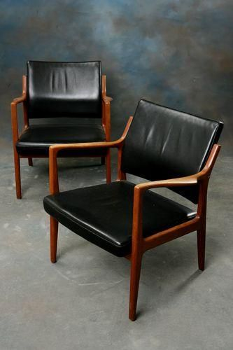 Karl Erik Ekselius Teak And Leather Armchairs For Joc 1964