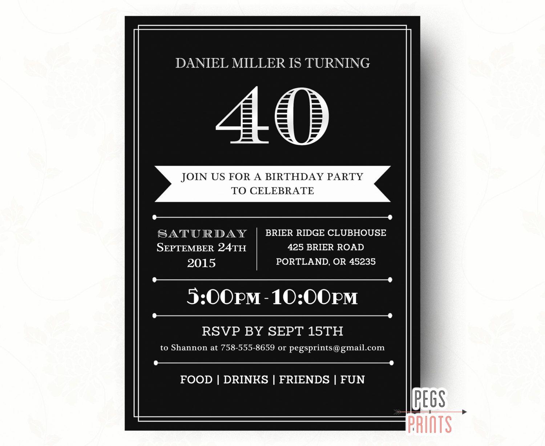 birthday party invitations printable%0A   th Birthday Invitations    Printable   th Birthday Invitation for Men    Birthday  Invitation for