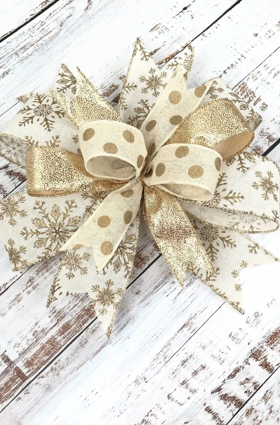 Christmas wreath bow, Christmas bow, gold Christmas wreath bow, gold Christmas decoration -   22 tree topper christmas diy ideas