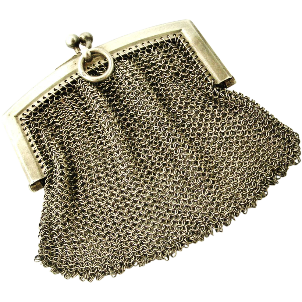 Antique French silver mesh purse