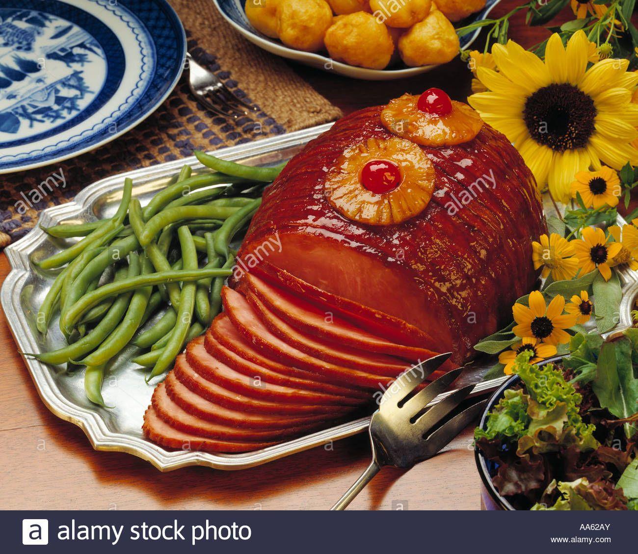 Fully Cooked Whole Spiral Ham Dinner Platter Garnish Culinary ... | Ham dinner