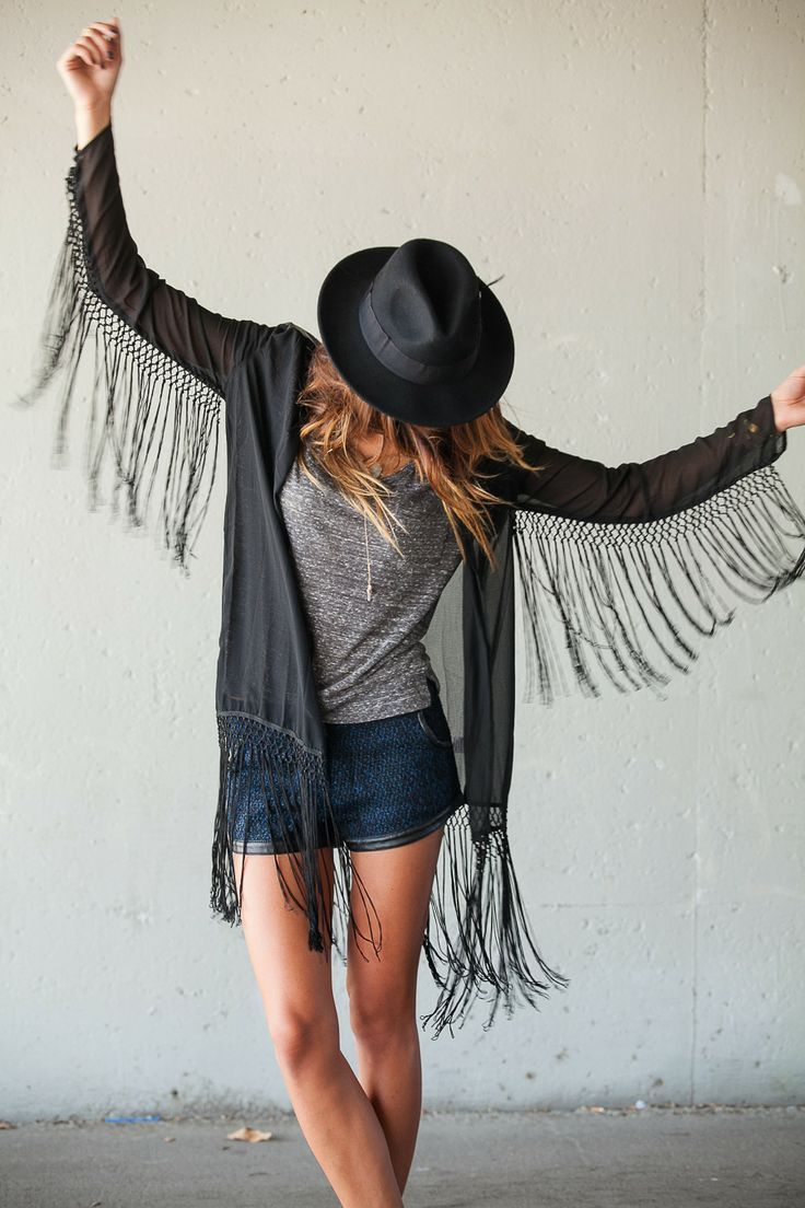 overall fringed cardigan