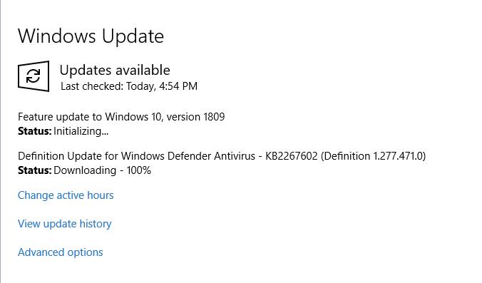 Solved: Windows 10 October 2018 update (Version 1809) stuck