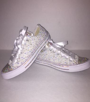 593427370291 Bedazzled bling all star chuck taylors converse. white on white chucks   perfect for weddings or special events  Rhinestone and pearl chucks.