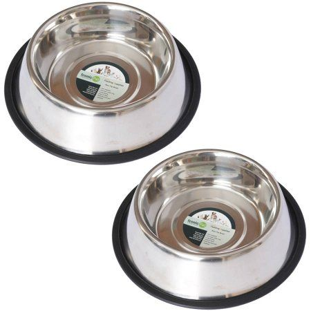 2-Pack Stainless Steel Non-Skid Pet Bowl For Dog or Cat, 8 Oz, 1 Cup, Black
