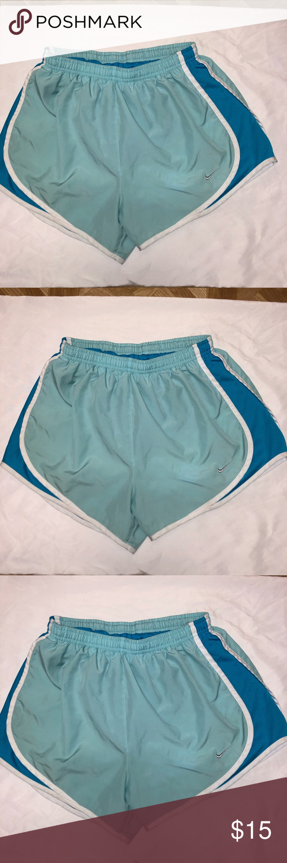 Nike Dri Fit Running Light Blue Women's Shorts Nike Drifit shorts. gently used please see photos for more details Nike Shorts #lightblueshorts
