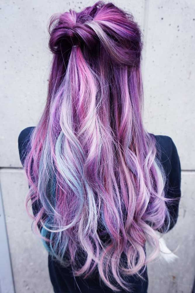 46 Purple Hair Styles That Will Make You Believe In Magic Hair Styles Hair Color Purple Curly Wedding Hair
