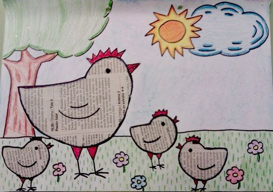 Collage De Primavera Con Papel De Periodico Manualidades Infantiles Newspaper Art And Craft Newspaper Crafts Art Drawings For Kids