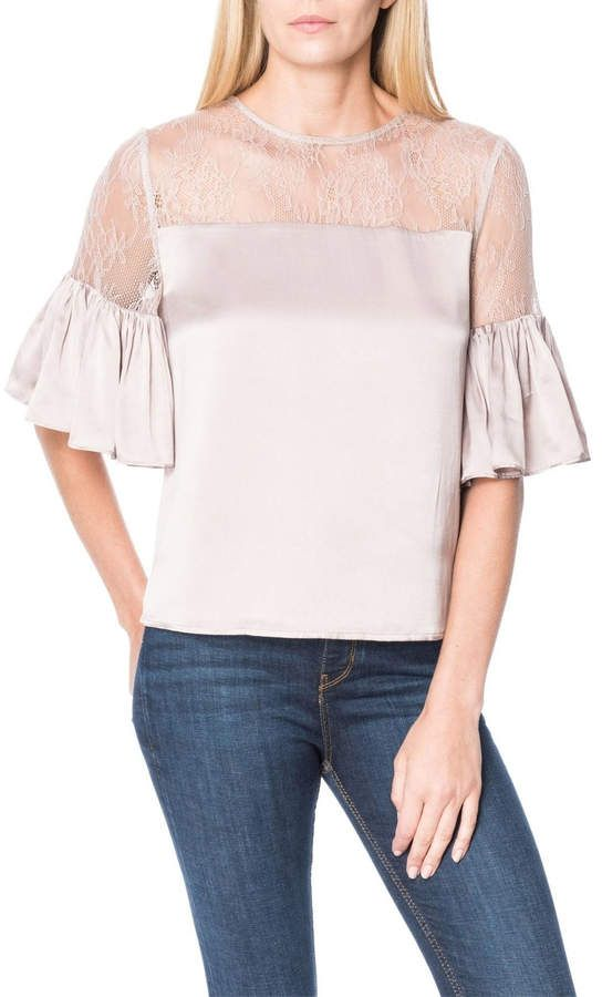 Cami NYC Womens The Shauna Silk Lace Blouse