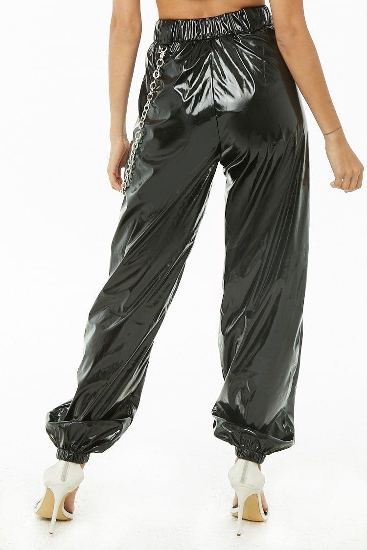 816ebf6f Wallet Chain Vinyl Joggers Pvc Leggings, Shiny Leggings, Jogger Pants,  Cargo Pants,