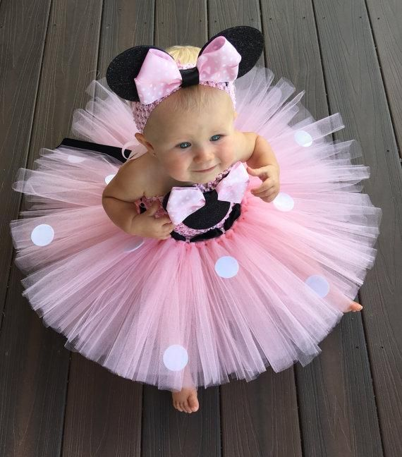 Lovely Girls Pink Cartoon Tutu Dress Baby 2Layer Crochet Tulle Tutus With Dots Ribbon Bow And Headband Kids Birthday Party