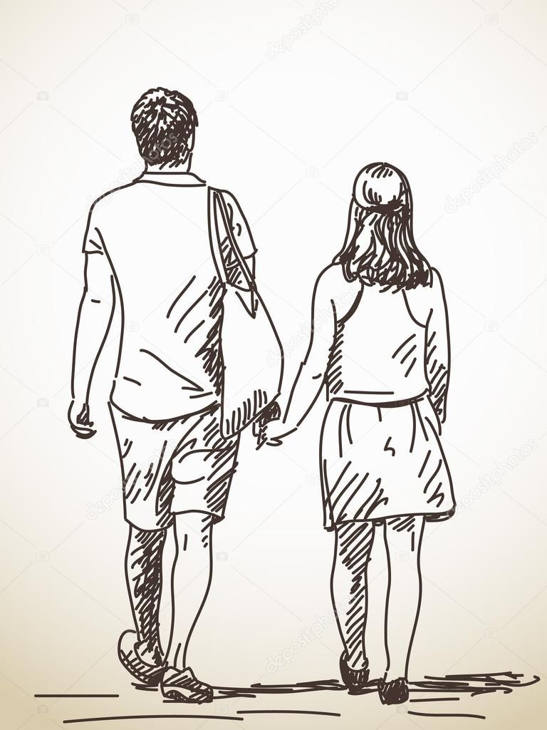 Walking Couple Back View Vector Sketch Hand Drawn Illustration Couple Drawings Drawing People How To Draw Hands