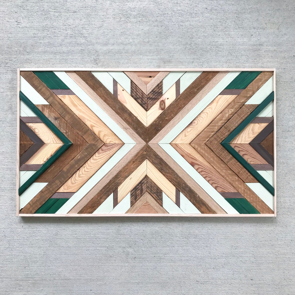 Reclaimed Wood Wall Art - Wood Wall Art- Reclaimed Wood - Wood Wall Decor- Wood Art- Geometric Wood Wall Art - Wooden Wall Art #reclaimedwoodwallart