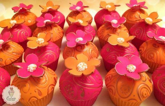 natty orange & pink cupcakes