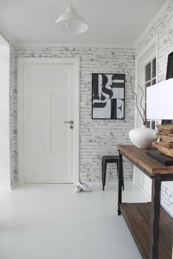 Papel pintado imitaci n ladrillos paredes pinterest for Imitacion ladrillo interior