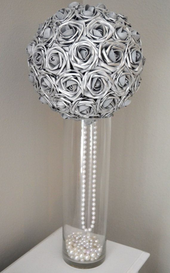 Silver Flower Ball With Draping Pearls Silver Wedding Etsy Silver Wedding Decorations Silver Wedding Centerpieces Wedding Centerpieces