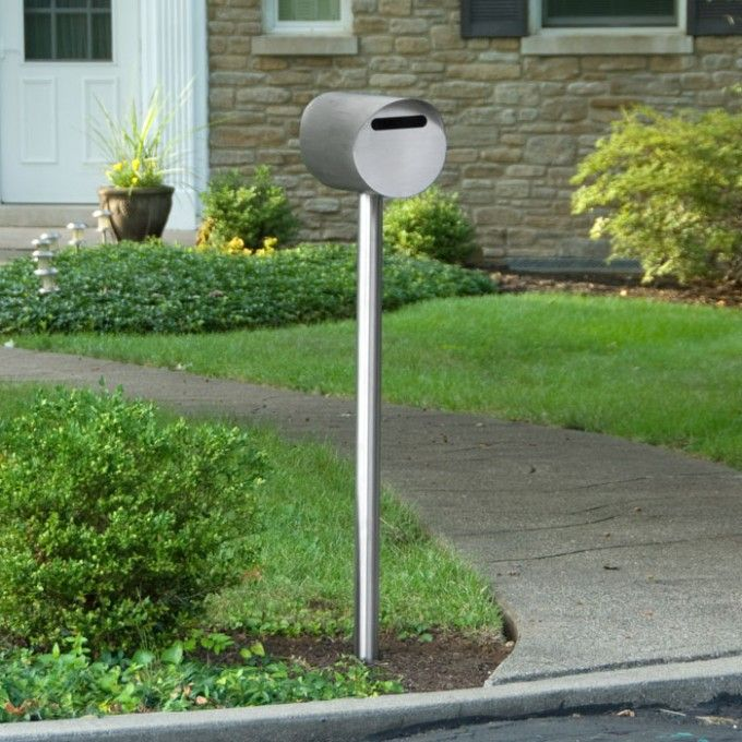 Silverdale Stainless Steel Mailbox And Post Set Brushed Stainless Steel Stainless Steel Mailbox Modern Outdoor Decor Contemporary Mailboxes
