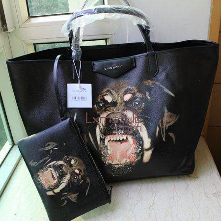 Women 2013 New Givenchy Antigona Rottweiler Print Shopper