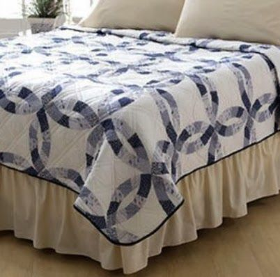 King size quilt - Sarah Blue Wedding Ring Print Quilt King Size