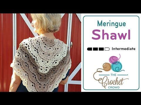 Crochet Fluffy Meringue Shawl + Tutorial - The Crochet Crowd   Caron ...