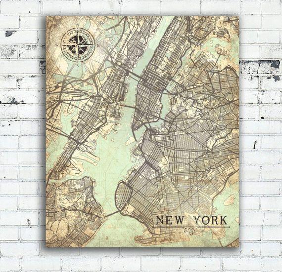 NEW YORK City Canvas Print Vintage map NYC New York City Ny Vintage - new world map canvas picture