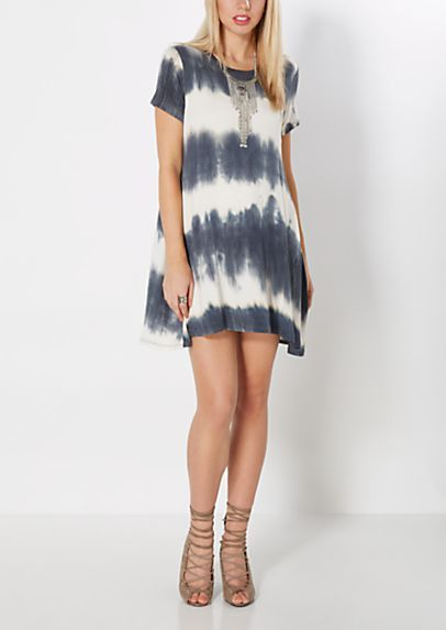 Charcoal Gray Tie Dye Swing Dress