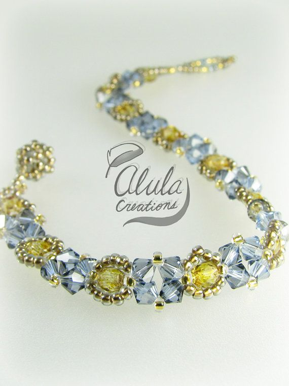 Bracelet 002 Swarovski Czech Fire Polish 24K by AlulaCreations