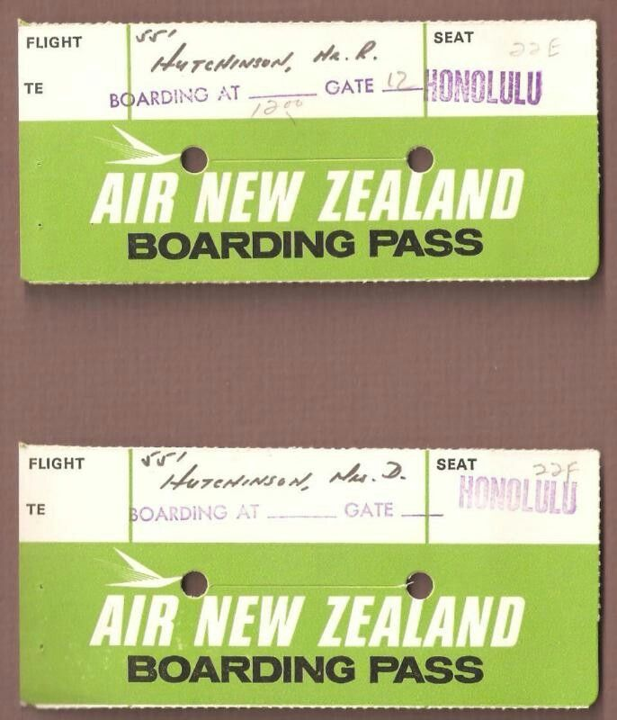 Air New Zealand 1970s Boarding Passes Air New Zealand Pinterest