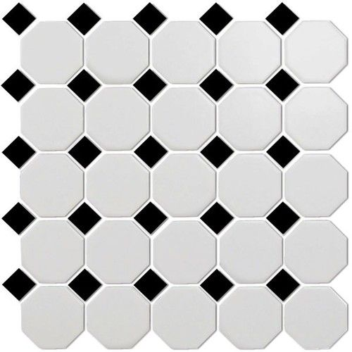 Cc Mosaics Matte Octagonal Snow White Black Mosaic 12x12 Tile Bathroom Bathroom Floor Tiles White Bathroom Tiles