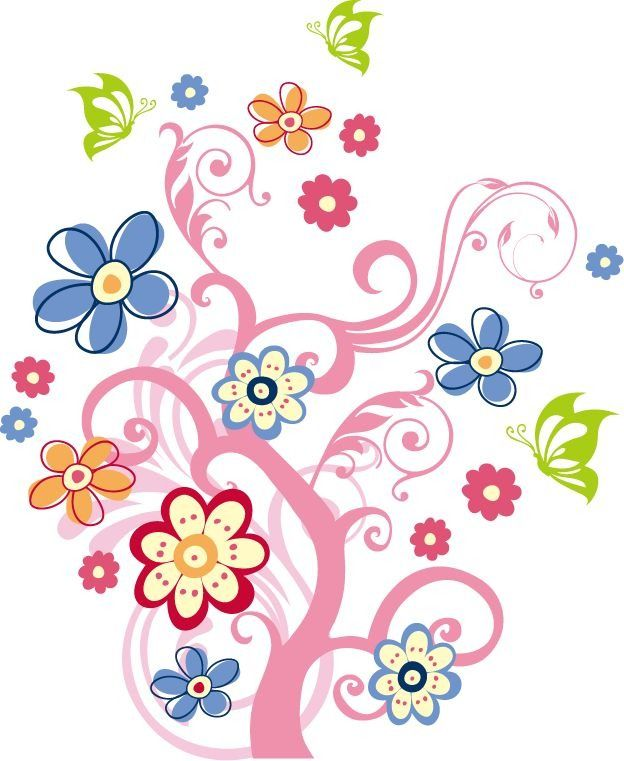 Free+Vector+Clip+Art | Tree with Flowers Vector Graphic | Free ...