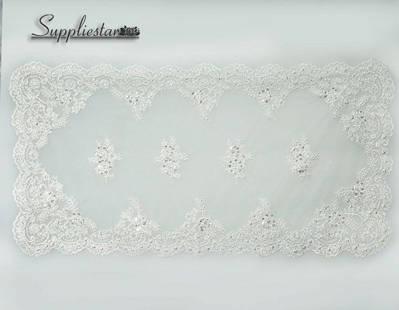 """1 Pcs Elegant Wedding Decoration Placemat, Ivory Sequinned Pearl Alencon Lace Table Decoration, 18"""" Embroidered Lace Home Decor, Item No.675... @suppliestar #craft #lace"""
